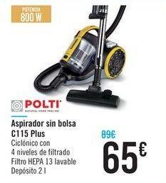 Oferta de Aspirador sin bolsa C115 Plus Polti  por 65€