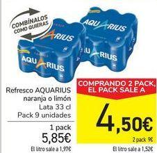 Oferta de Refresco AQUARIUS Naranja o limón  por 5,85€