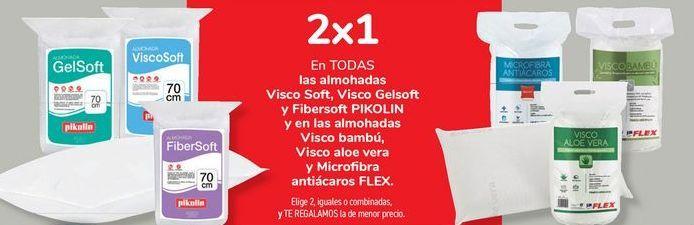 Oferta de En TODAS las almohadas Visco Soft, Visco Gelsoft y Fibersoft PIKOLIN y en las almohadas Visco Bambú, Visco aloe vera y microfibra antiácaros FLEX.  por