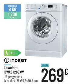 Oferta de Lavadora BWA81283XW Indesit por 269€