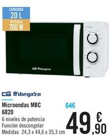 Oferta de Microondas MBC 6020 Orbegozo  por 49,9€