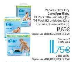 Oferta de Pañales Ultra Dry Carrefour Baby por 13,85€