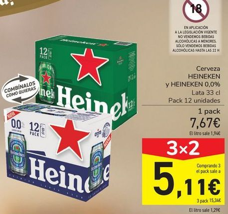 Oferta de Cerveza HEINEKEN y HEINEKEN 0,0%  por