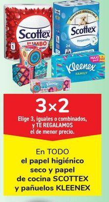 Oferta de En TODO el papel higiénico seco y papel de cocina SCOTTEX y pañuelos KLLENEX. por