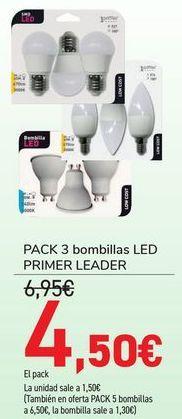Oferta de PACK 3 Bombillas LED PRIMER LEADER por 4,5€