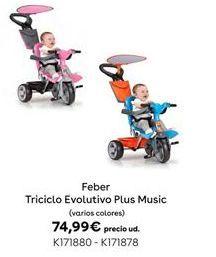 Oferta de Triciclo EVOLUTIVO PLUS MUSIC Feber por 74,99€