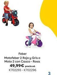 Oferta de MOTOFEBER 2 ROJO Y GRIS O MOTO 2 CON CASCO - ROSA Feber por 49,99€