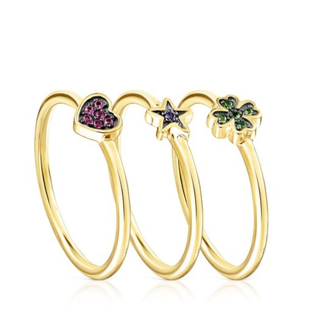 Oferta de        Pack de Anillos Teddy Bear Stars de plata vermeil con gemas      por 99€