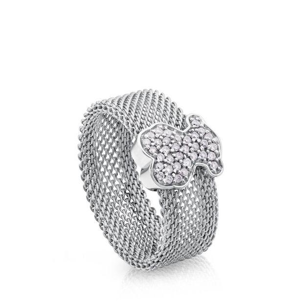 Oferta de Anillo Icon Mesh de Acero y Oro blanco con Diamantes por 640€