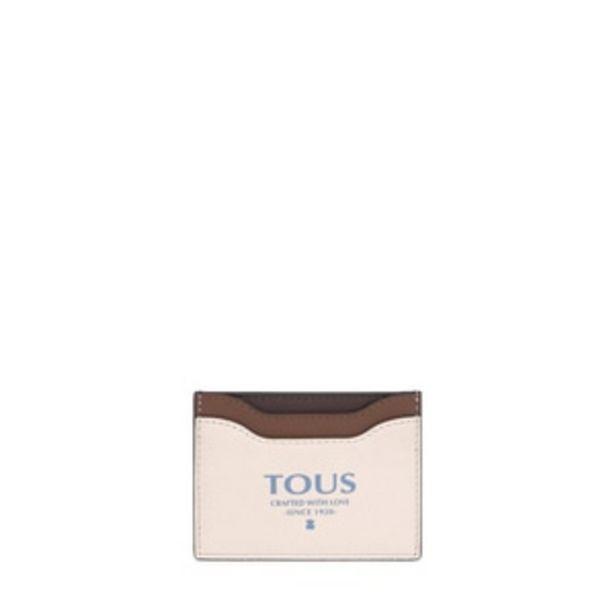 Oferta de        Tarjetero plano Tous Essential beige y marrón      por 29€
