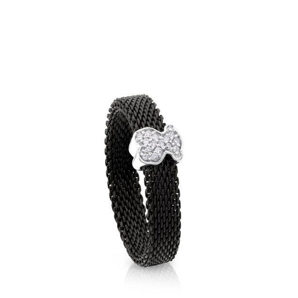 Oferta de Anillo Icon Mesh de Acero y Oro blanco con Diamantes por 200€
