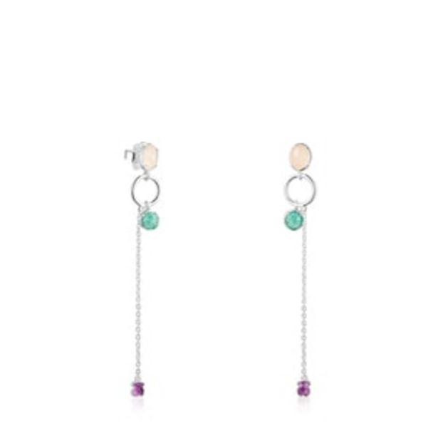 Oferta de        Pendientes largos Cool Color de plata y gemas      por 150€