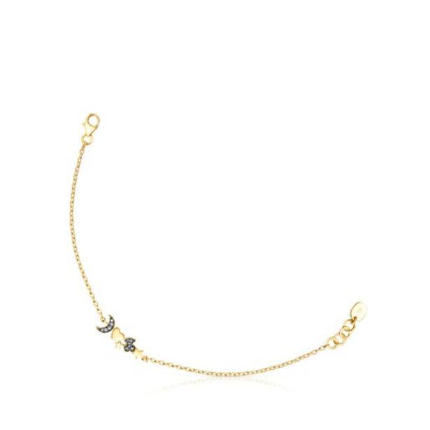 Oferta de        Pulsera Nocturne de plata vermeil y motivos de diamantes      por 140€