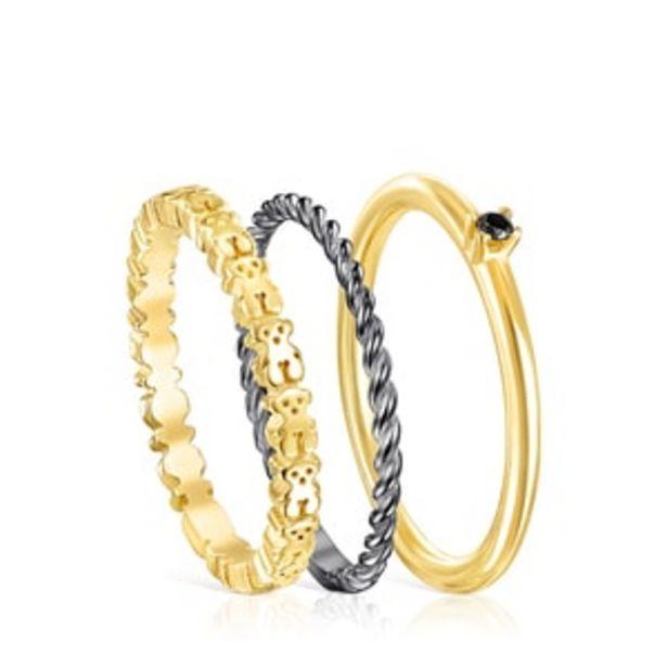 Oferta de        Pack de Anillos Ring Mix de Plata Vermeil, Plata dark silver y Espinela      por 130€