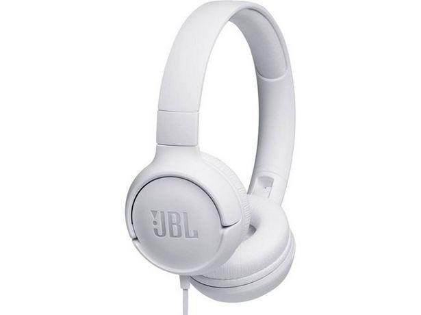 Oferta de Auriculares con cable JBL Tune 500 (On ear - Micrófono - Atiende llamadas - Blanco) por 20,99€