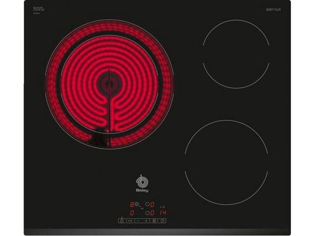 Oferta de Placa de Vitrocerámica BALAY 3EB715LR (Caja Abierta - Eléctrica - 59.2 cm - Negro) por 269,97€