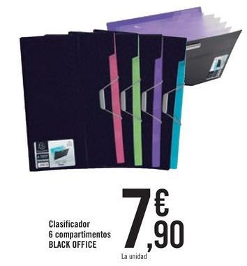 Oferta de Clasificador 6 compartimentos BLACK OFFICE por 7,9€