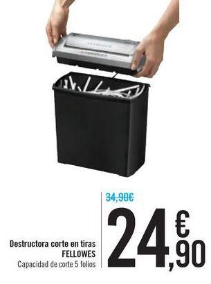 Oferta de Destructora corte en tiras FELLOWES por 24,9€