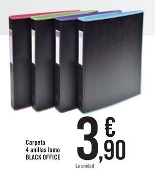 Oferta de Carpeta 4 anillas lomo BLACK OFFICE por 3,9€