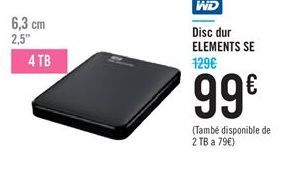 Oferta de Disco duro ELEMENTS SE WD por 99€