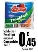 Oferta de Salchichas frankfurt Campofrío por 0,45€