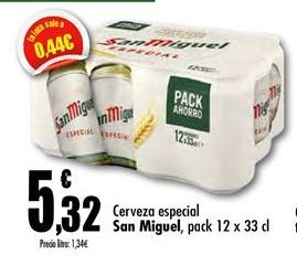 Oferta de Cerveza especial San Miguel por 5,32€