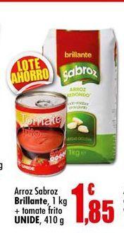 Oferta de Arroz Sabroz Brillante + Tomate frito UNIDE por 1,85€