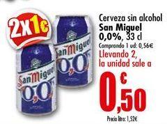 Oferta de Cerveza sin alcohol San Miguel por 0,56€