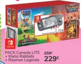 Oferta de PACK Consola LITE + Mario Rabbids + Rayman Legends por 229€