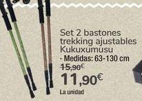 Oferta de Set 2 bastones trekking ajustables Kukuxumusu por 11,9€