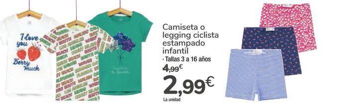 Oferta de Camiseta o legging ciclista estampado infantil  por 2,99€