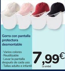 Oferta de Gorra con pantalla protectora desmontable por 7,99€