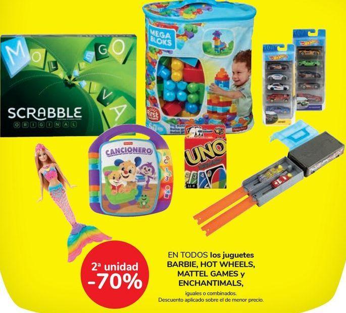 Oferta de En TODOS los juguetes BARBIE, HOT WHEELS, MATTEL GAMES y ENCHANTIMALS por
