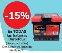 Oferta de En TODAS las baterías Carrefour por