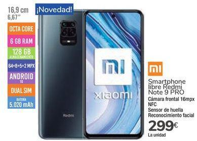 Oferta de Smartphone libre Redmin Note 9 PRO por 299€