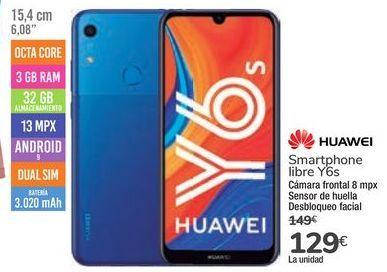 Oferta de Smartphone libre Y6s por 129€