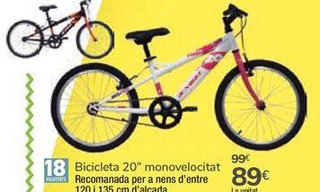 """Oferta de Bicicleta 20"""" monovelocidad  por 89€"""