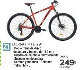 "Oferta de Bicicletas MTB 29"" por 249€"