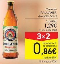 Oferta de Cerveza PAULANER  por 1,29€
