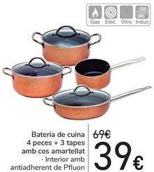 Oferta de Batería de cocina 4 piezas + 3 tapas con cuerpo amartillado  por 39€