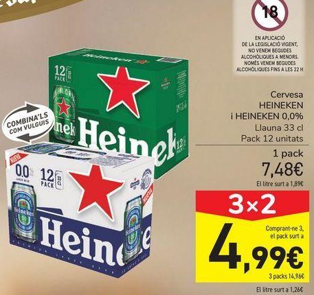 Oferta de Cerveza HEINEKEN y HEINEKEN 0,0%  por 7,48€