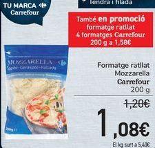 Oferta de Queso rallado Mozzarella Carrefour  por 1,08€