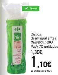 Oferta de Discos desmaquillantes Carrefour Bio Pack 70 unidades por 1,1€