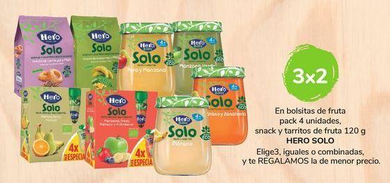 Oferta de En bolsitas de fruta pack 4 unidades, snack y tarritos de fruta 120 g  Hero Solo por