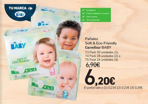 Oferta de Pañales Soft & Eco-Friendly Carrefour Baby por 6,2€
