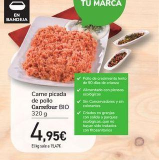 Oferta de Carne picada  de pollo Carrefour Bio por 4,95€