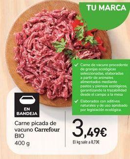 Oferta de Carne picada de vacuno Carrefour Bio por 3,49€
