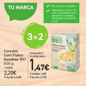 Oferta de Cereales Corn Flakes Carrefour bio por 2,2€