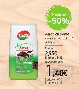 Oferta de Arroz crujiente con cacao Esgir por 2,95€