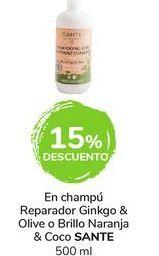 Oferta de En champú Reparador Ginkgo & Olive o Brillo Naranja & Coco Sante por